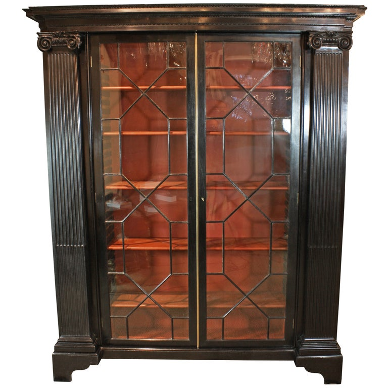 English Neoclassical Black-Lacquered Bookcase For Sale