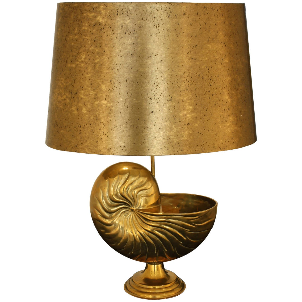 French Bronze Nautilus Shell Lamp With Faux Brass Shade