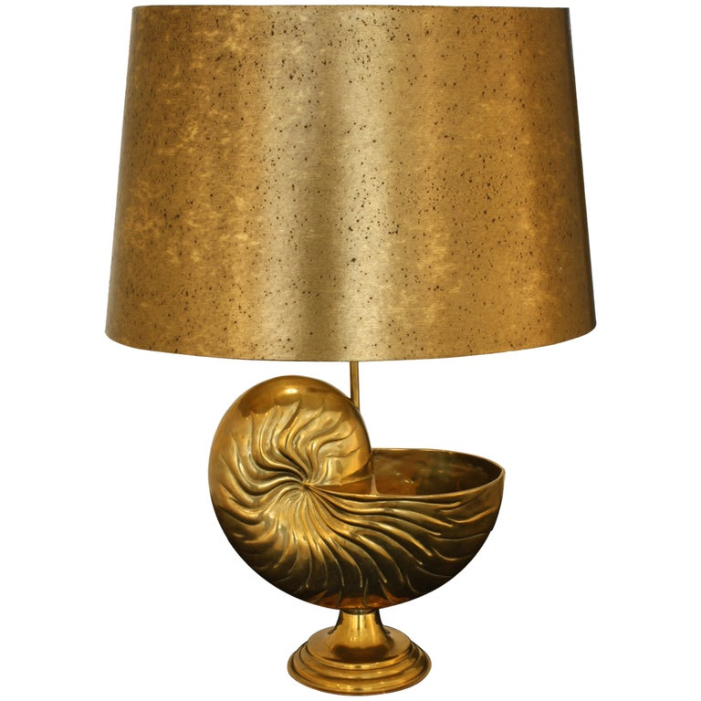 French Bronze Nautilus Shell Lamp in the Style of Maison Charles For Sale