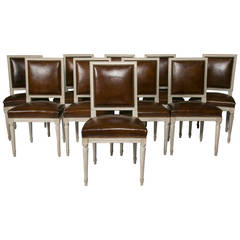 Set of Ten French Louis XVI Style Leather Dining Chairs