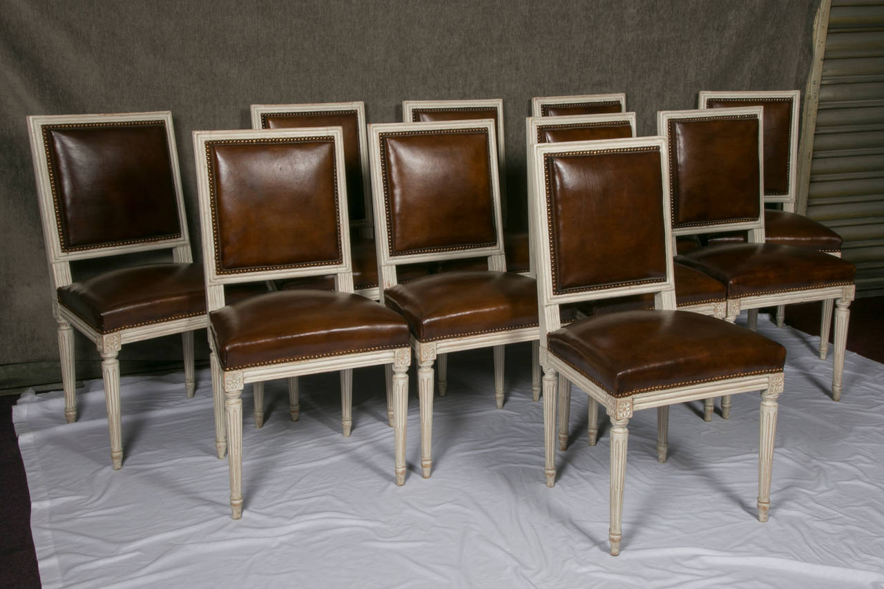 Set Of Ten French Louis Xvi Style Leather Dining Chairs At