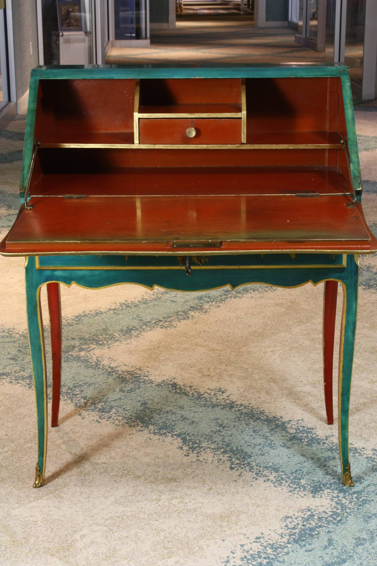 Gilt Louis XV Style Chinoiserie Slant-Top Desk For Sale