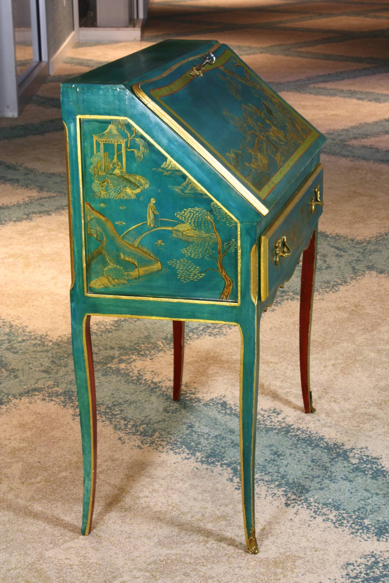Bronze Louis XV Style Chinoiserie Slant-Top Desk For Sale