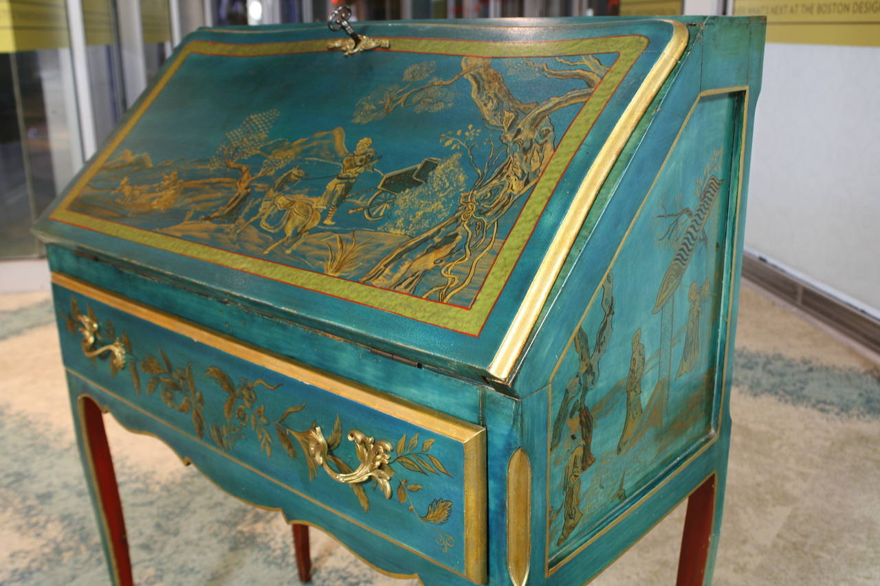 Louis XV Style Chinoiserie Slant-Top Desk For Sale 1