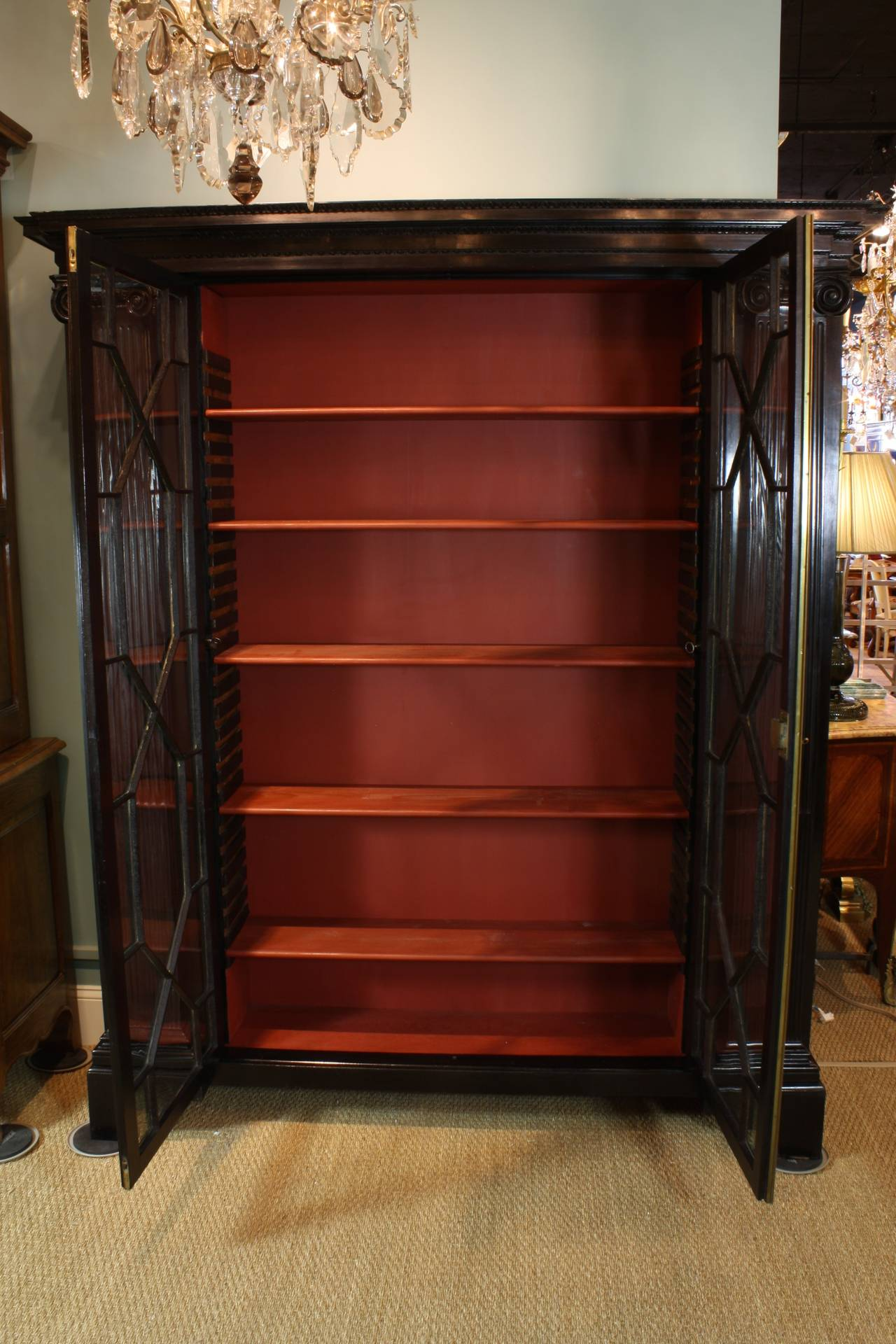 English Neoclassical Black-Lacquered Bookcase For Sale 2