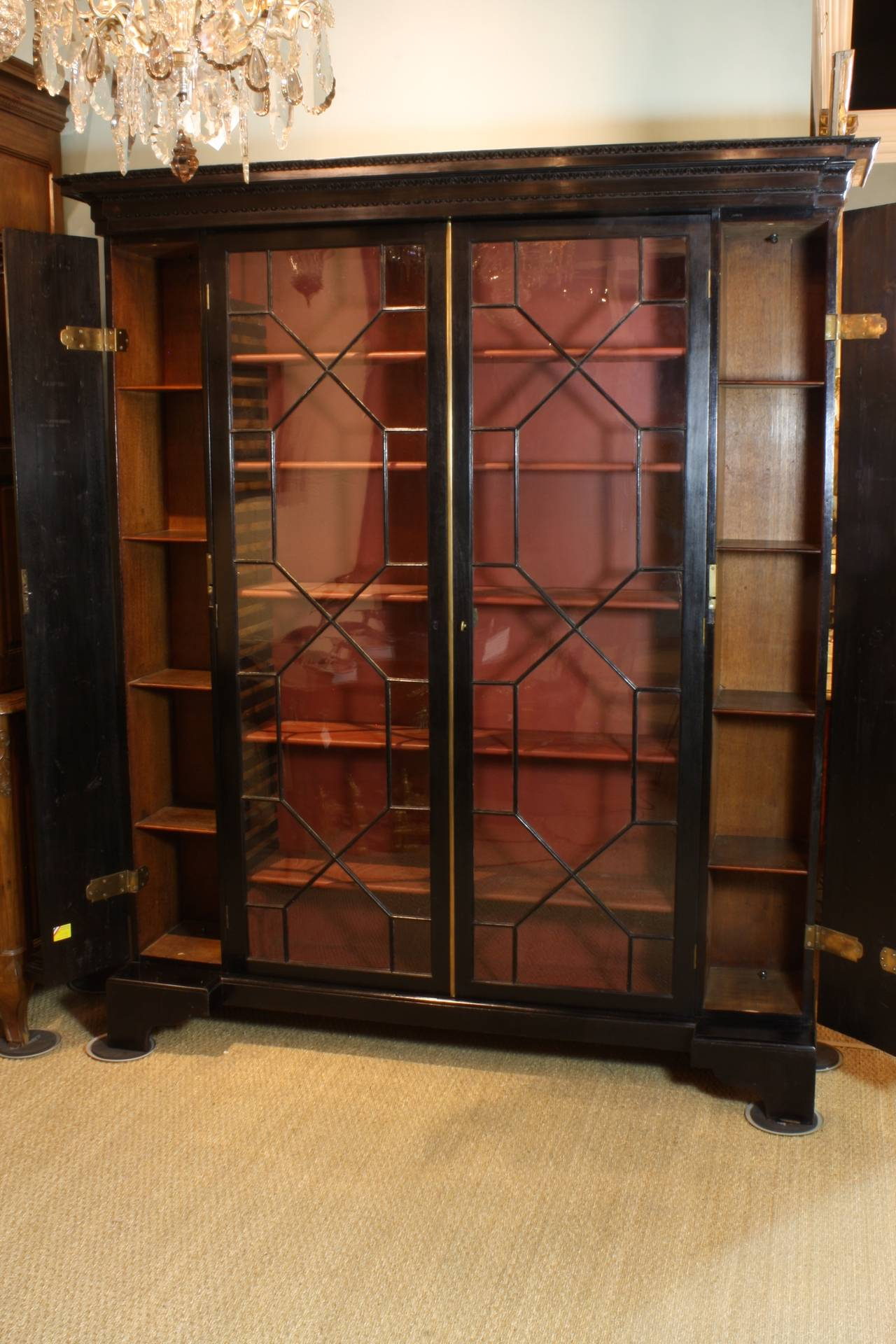 English Neoclassical Black-Lacquered Bookcase For Sale 1