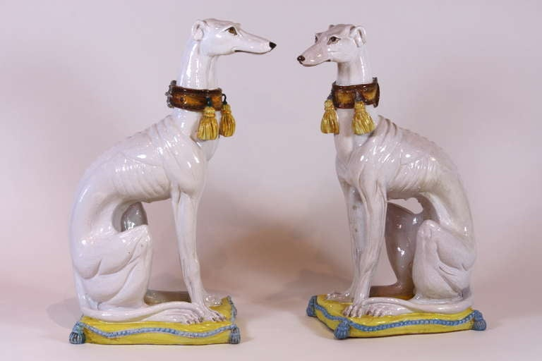 Neoclassical Pair of Italian Ceramic Greyhounds Seated on Cushions For Sale