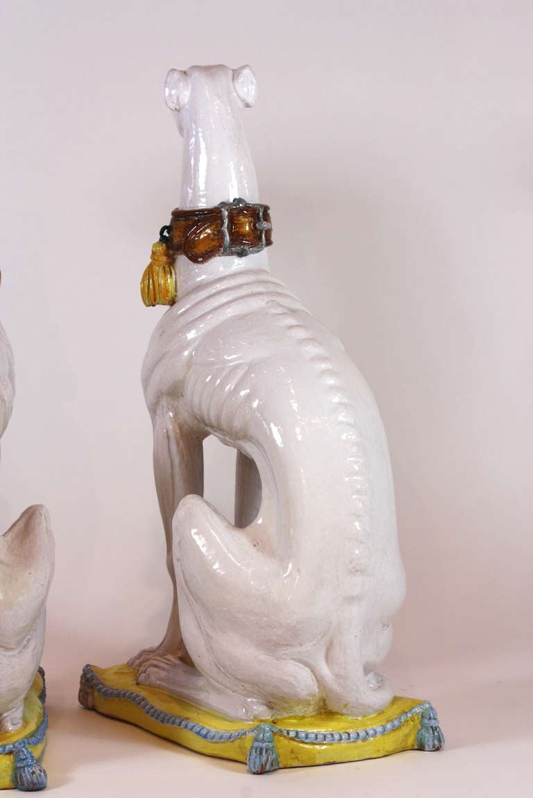 Pair of Italian Ceramic Greyhounds Seated on Cushions For Sale 3