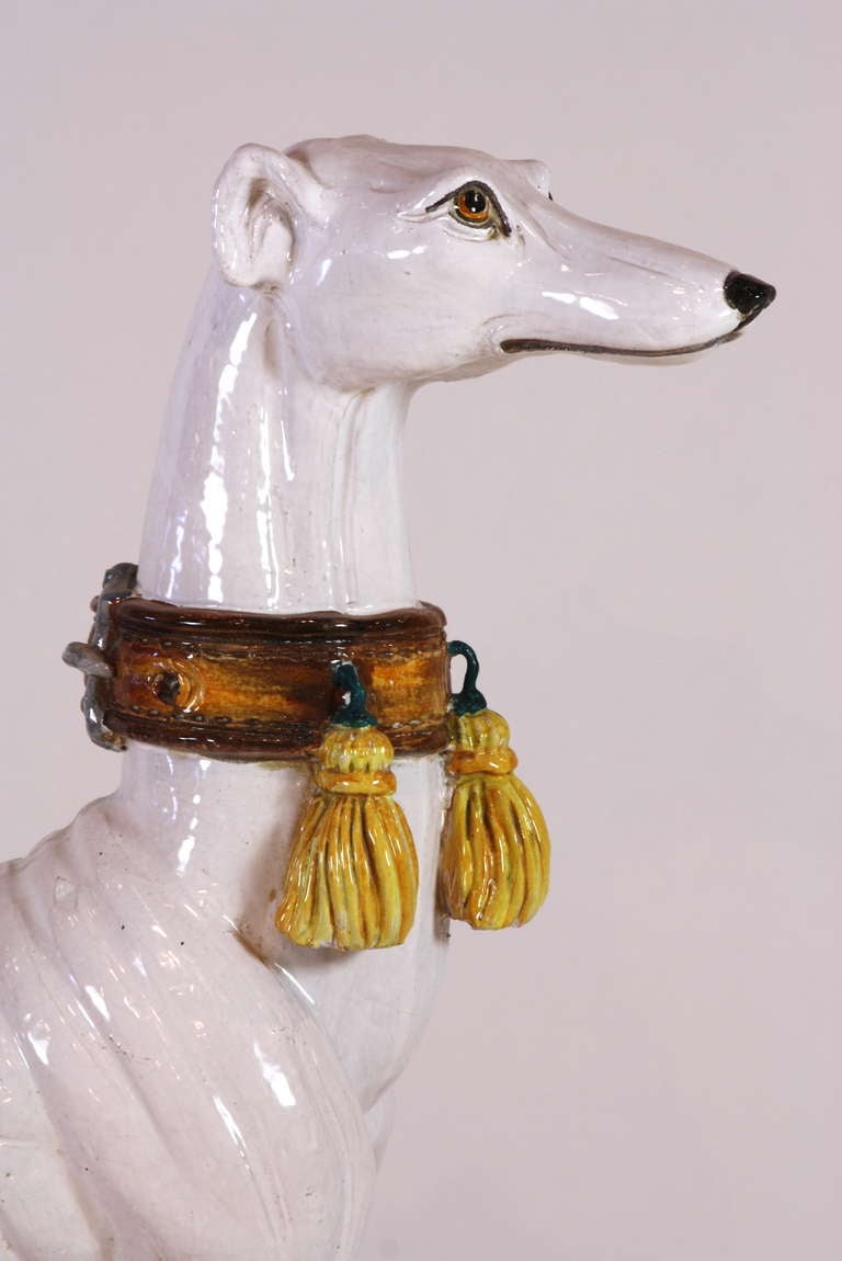 Pair of Italian Ceramic Greyhounds Seated on Cushions For Sale 4