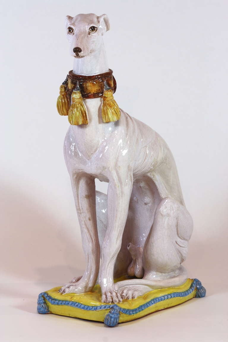 Mid-20th Century Pair of Italian Ceramic Greyhounds Seated on Cushions For Sale