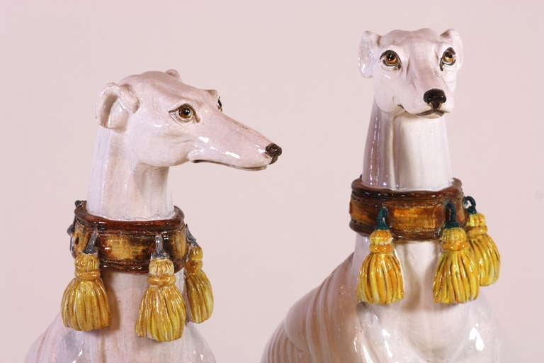 Pair of Italian Ceramic Greyhounds Seated on Cushions For Sale 1