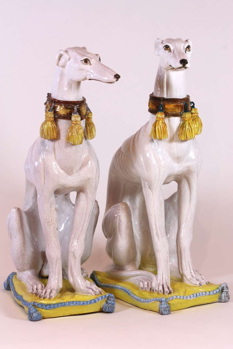 Pair of Italian Ceramic Greyhounds Seated on Cushions For Sale 2
