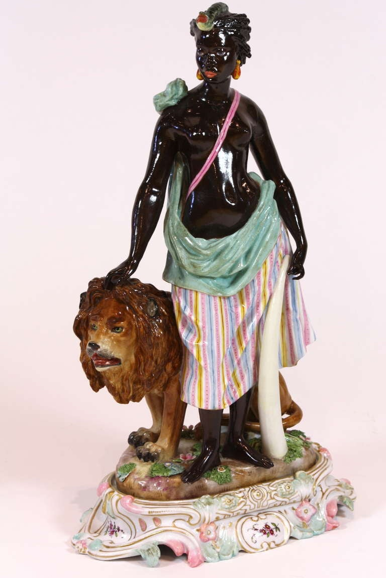 German Pair of Meissen Porcelain Allegorical Figures of Continents For Sale