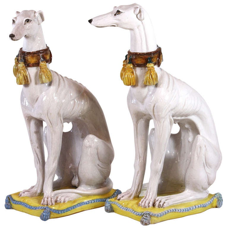 Pair of Italian Ceramic Greyhounds Seated on Cushions For Sale