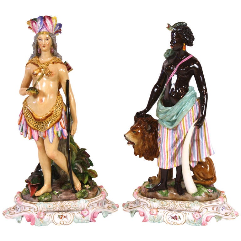 Pair of Meissen Porcelain Allegorical Figures of Continents