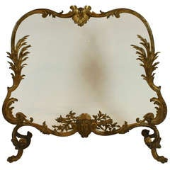 Impressive French Bronze Firescreen with Glass