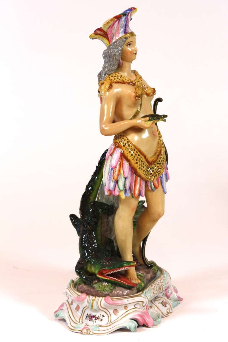 Neoclassical Pair of Meissen Porcelain Allegorical Figures of Continents For Sale