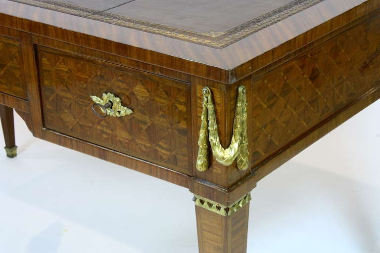 French Louis XVI Style Parquetry Desk For Sale 1