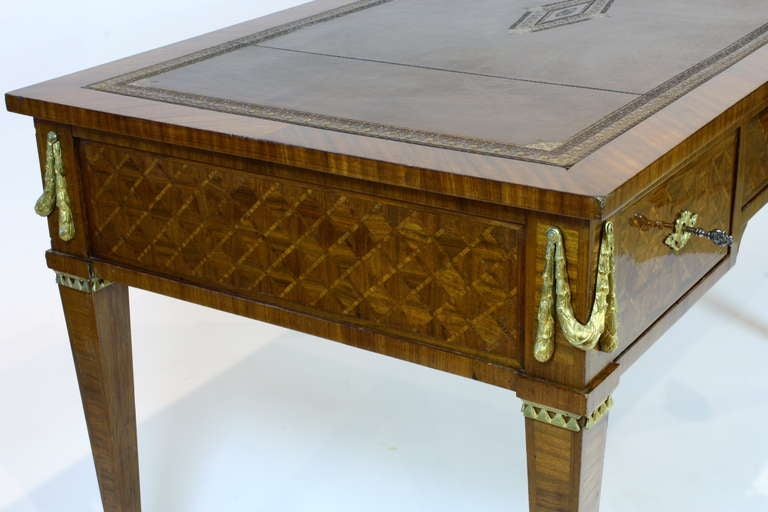 19th Century French Louis XVI Style Parquetry Desk For Sale