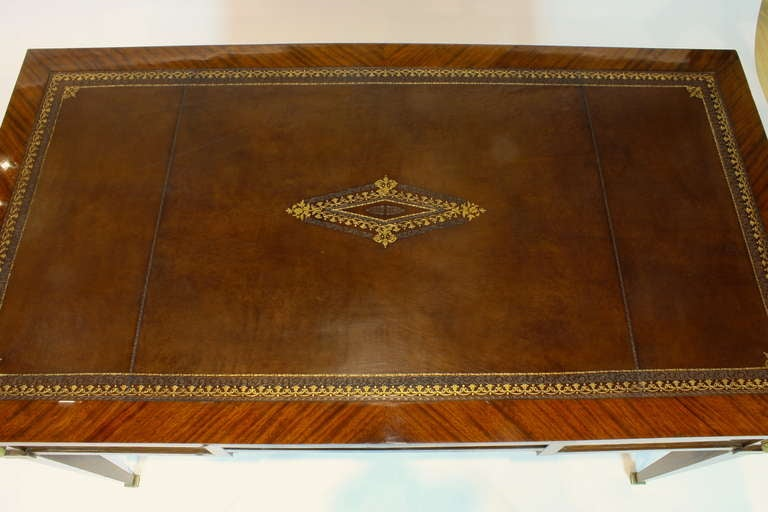 Bronze French Louis XVI Style Parquetry Desk For Sale