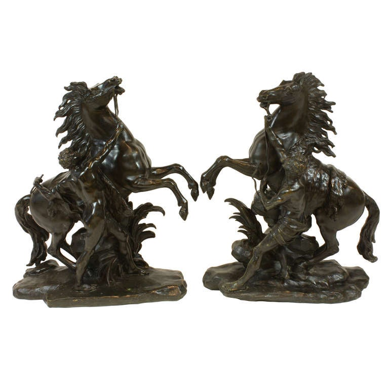 Pair of French Bronze Marly Horses For Sale