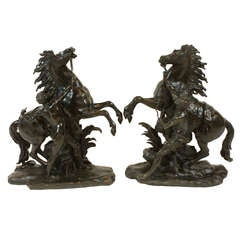 Pair of French Bronze Marly Horses
