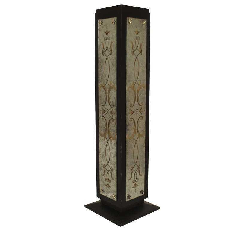Art Deco Eglomise Decorated Mirrored Pedestal