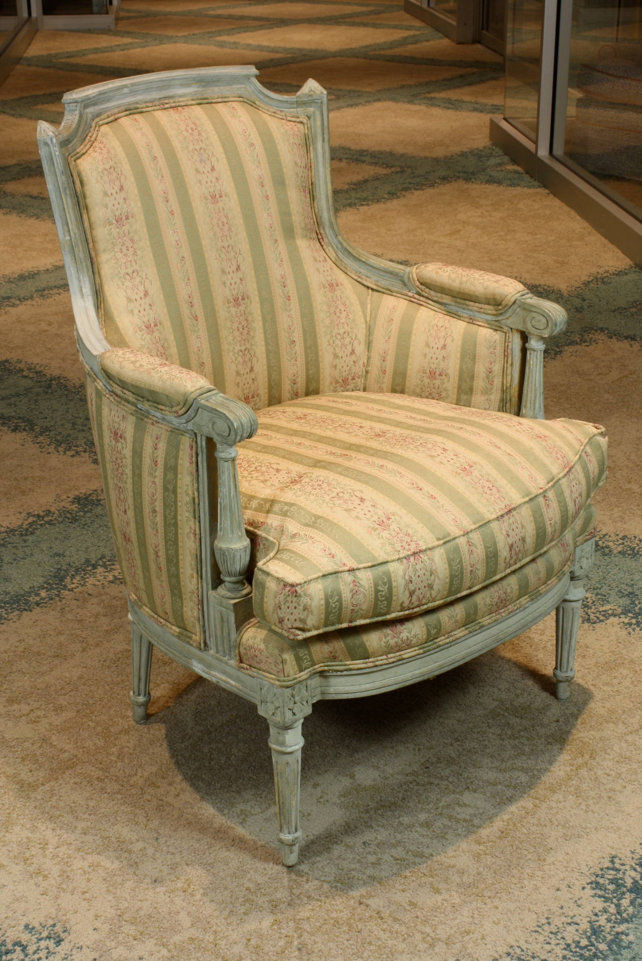 Pair of French Louis XVI Style Painted Bergeres 3