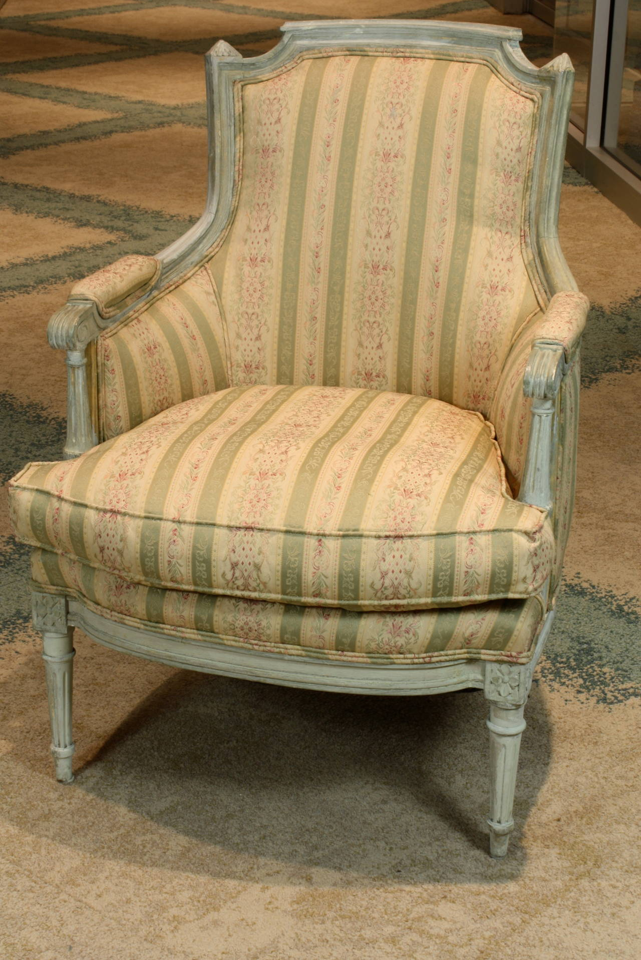 Upholstery Pair of French Louis XVI Style Painted Bergeres