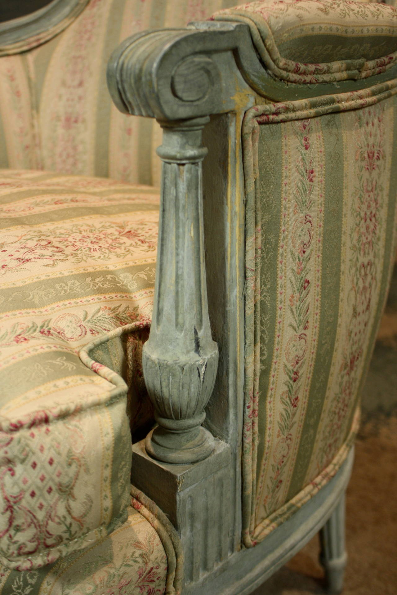 Pair of French Louis XVI Style Painted Bergeres 2