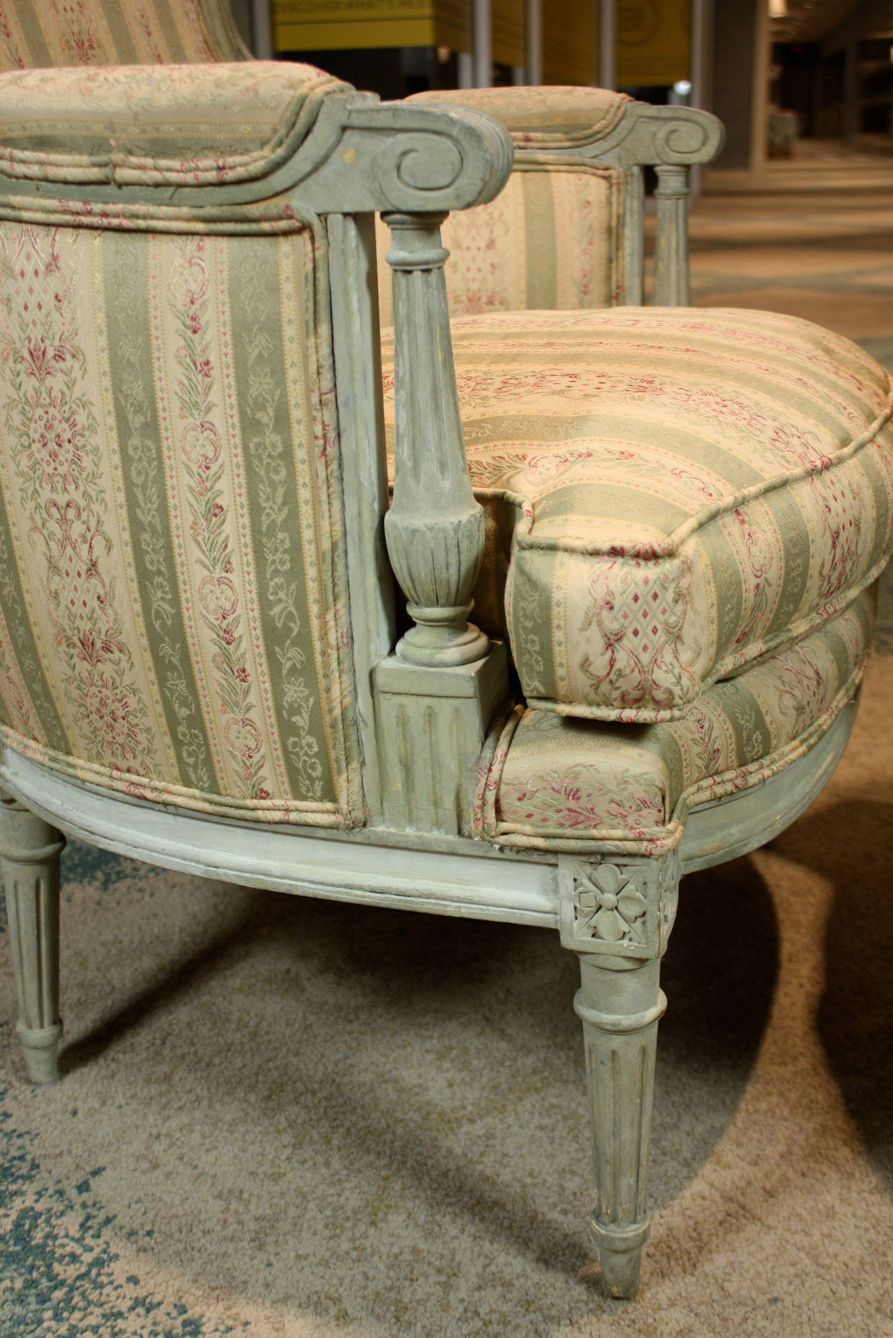 Pair of French Louis XVI Style Painted Bergeres 7