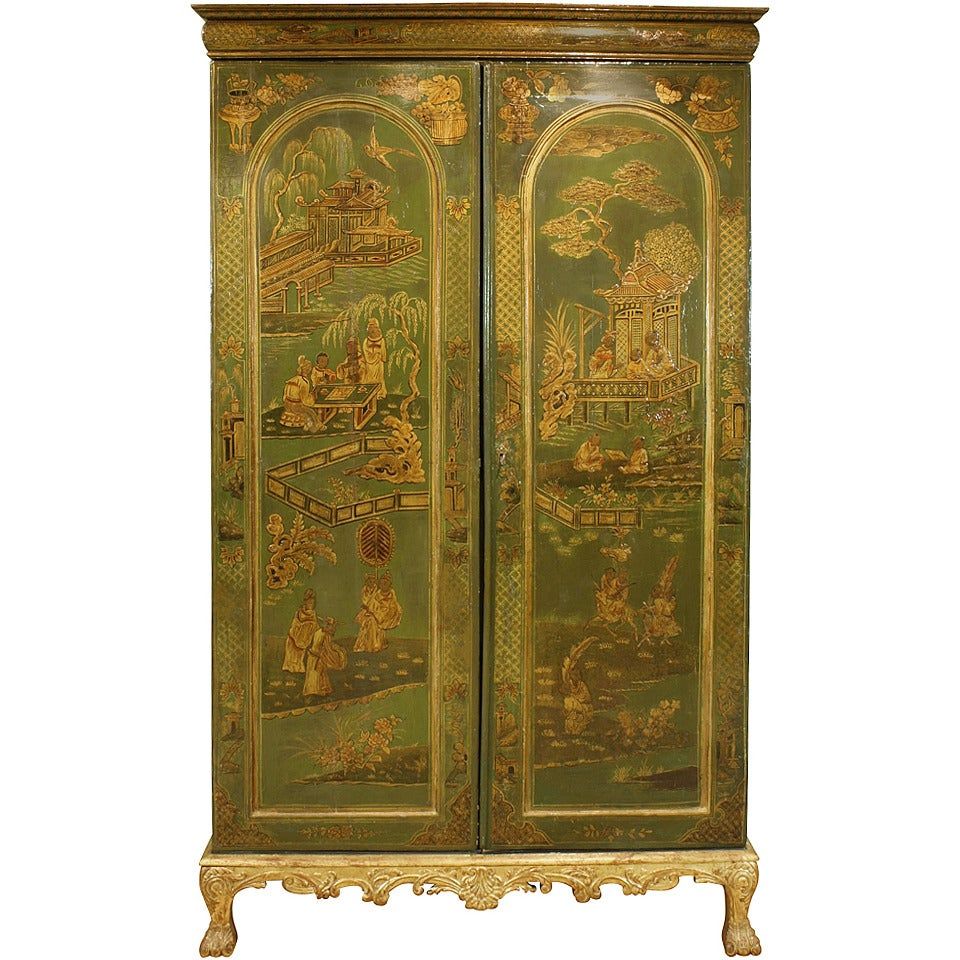 Extraordinary English Chinoiserie Panelled Armoire 1