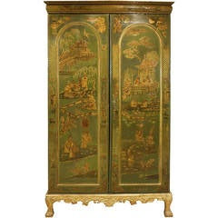 Extraordinary English Chinoiserie Panelled Armoire