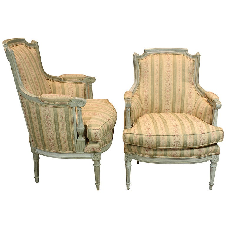 Pair of French Louis XVI Style Painted Bergeres