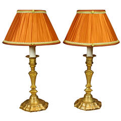 Pair of French Gilt Bronze Candlestick Lamps