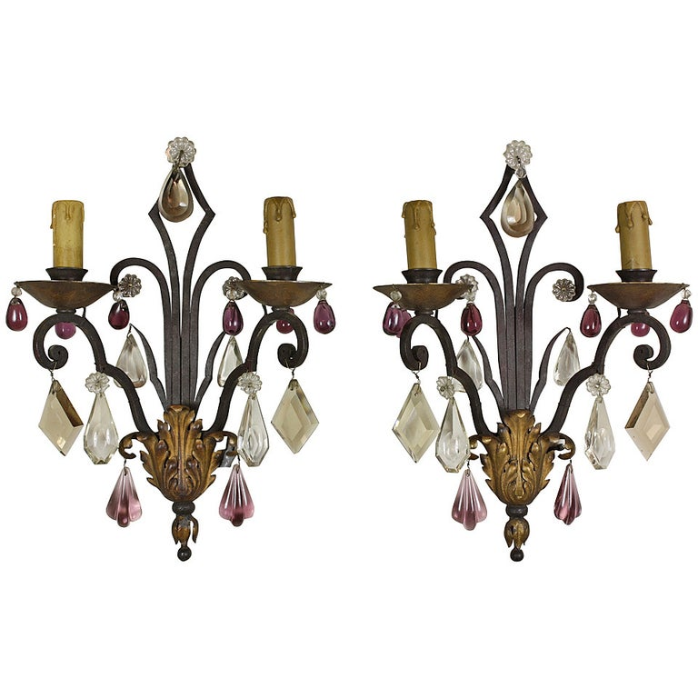 Pair of French Wrought Iron Sconces with Colored Crystals
