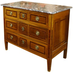 French Louis XVI Period Marquetry Commode