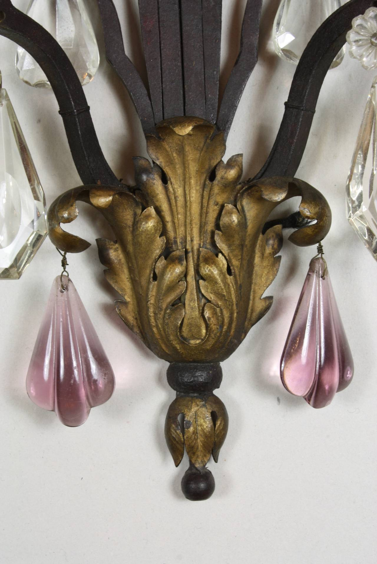 20th Century Pair of French Wrought Iron Sconces with Colored Crystals