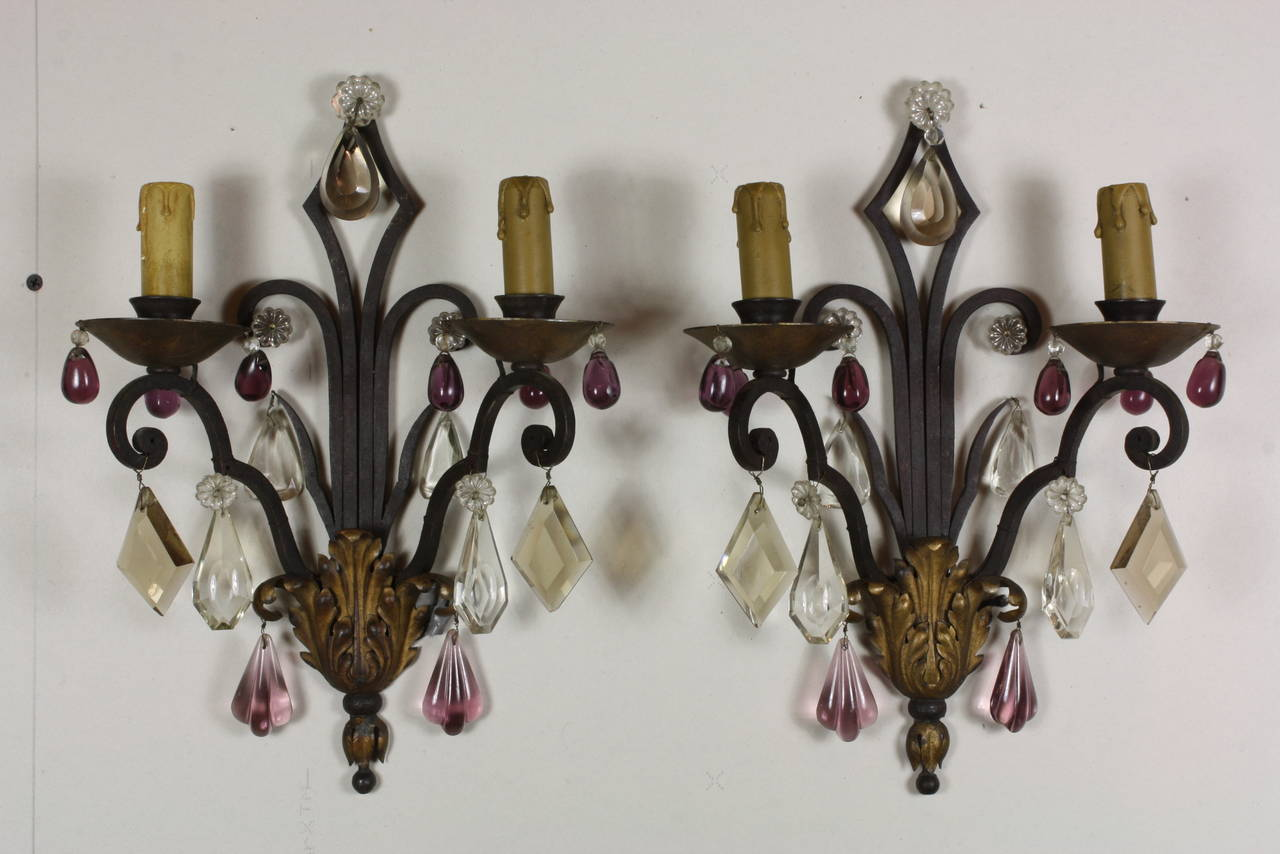Forged Pair of French Wrought Iron Sconces with Colored Crystals