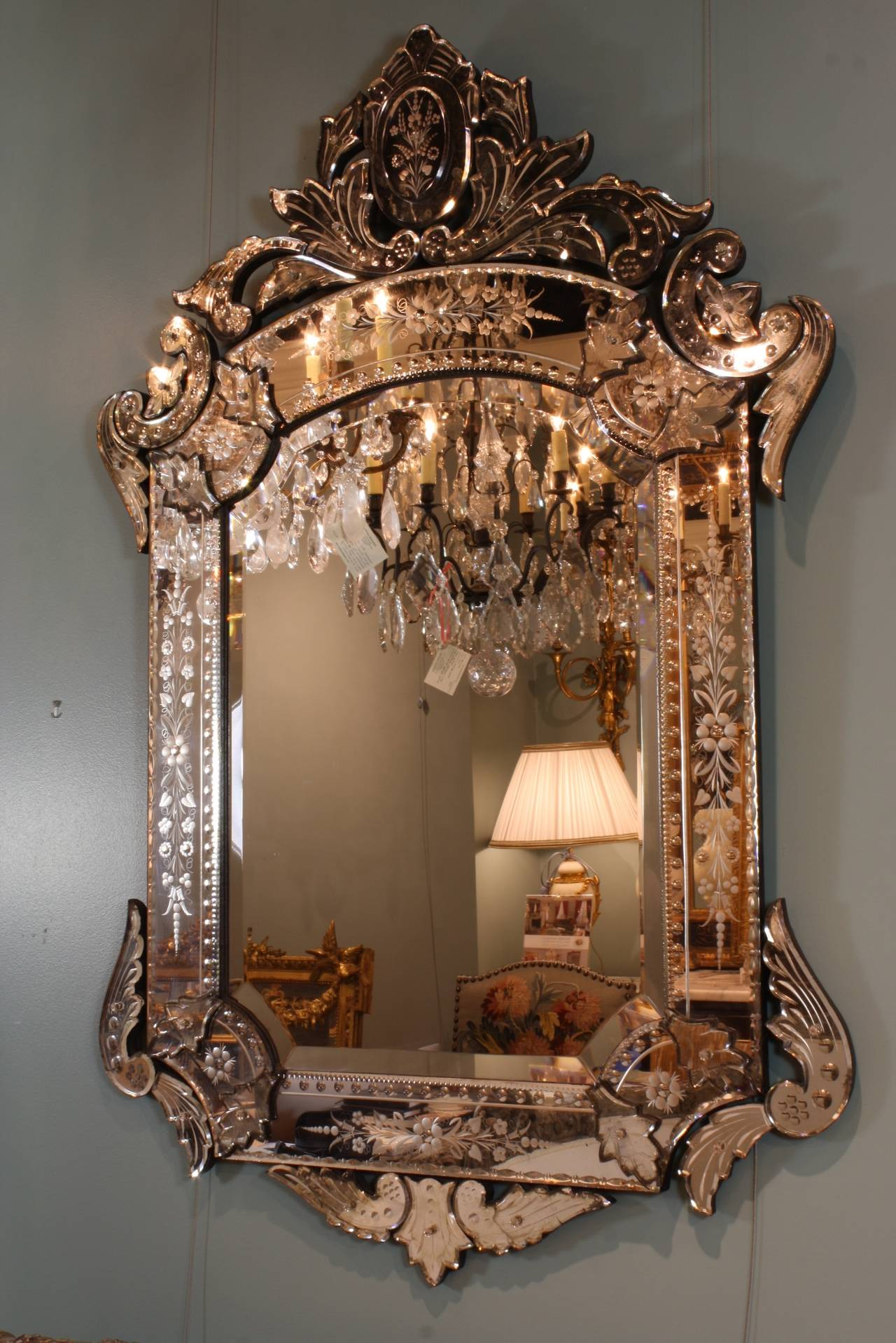 Glass Ornate Venetian Rococo Mirror For Sale