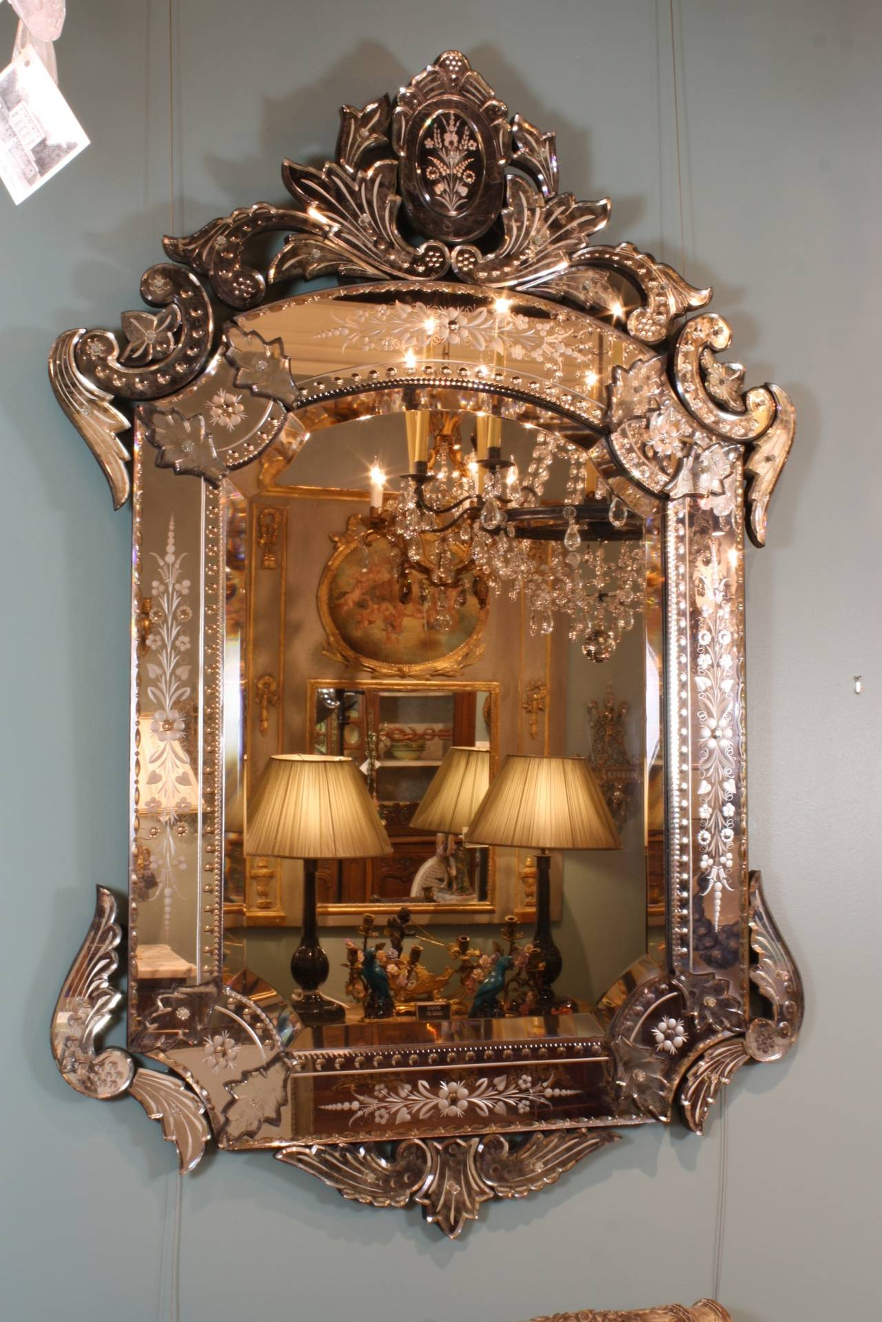 Italian Ornate Venetian Rococo Mirror For Sale