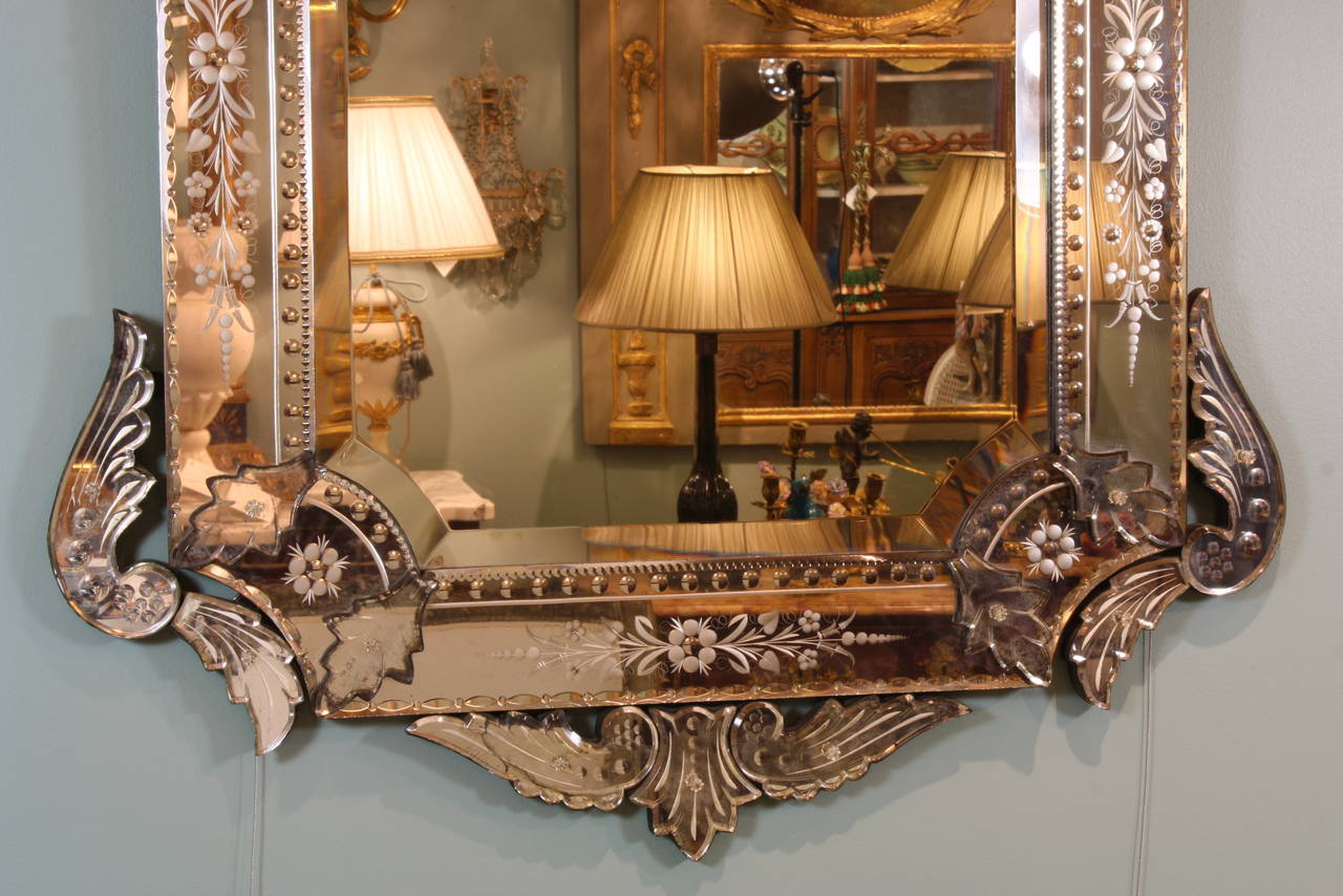 20th Century Ornate Venetian Rococo Mirror For Sale