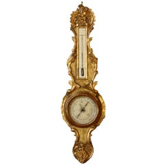 Louis XV Period Gilded Barometer with Thermometer