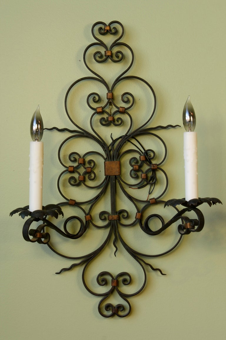 Gilt Pair of French Country Wrought Iron Sconces For Sale