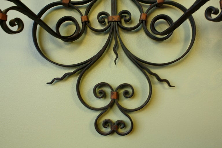 20th Century Pair of French Country Wrought Iron Sconces For Sale