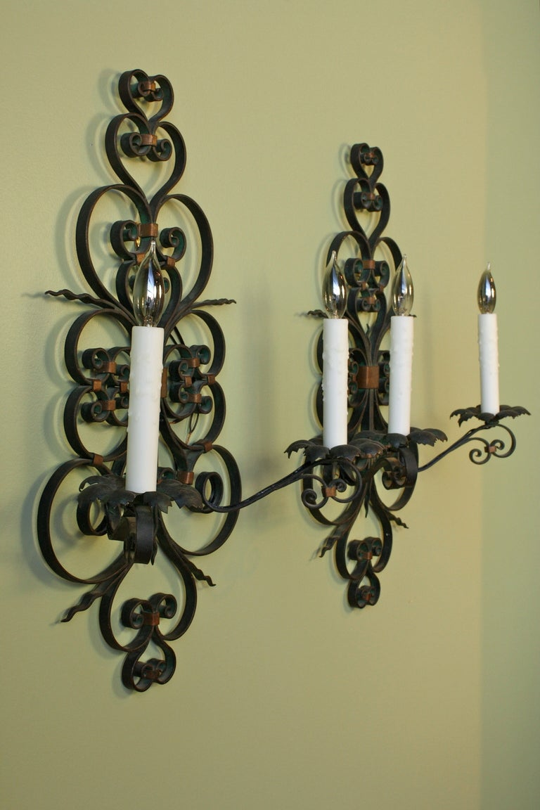 Wall Sconces Wrought Iron : Pair of French Wrought Iron Sconces For Sale at 1stdibs