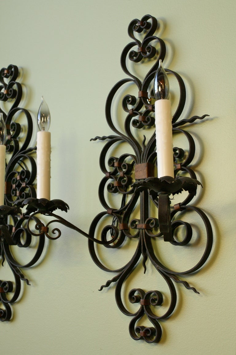 pair of large wrought iron wall sconces for sale at 1stdibs