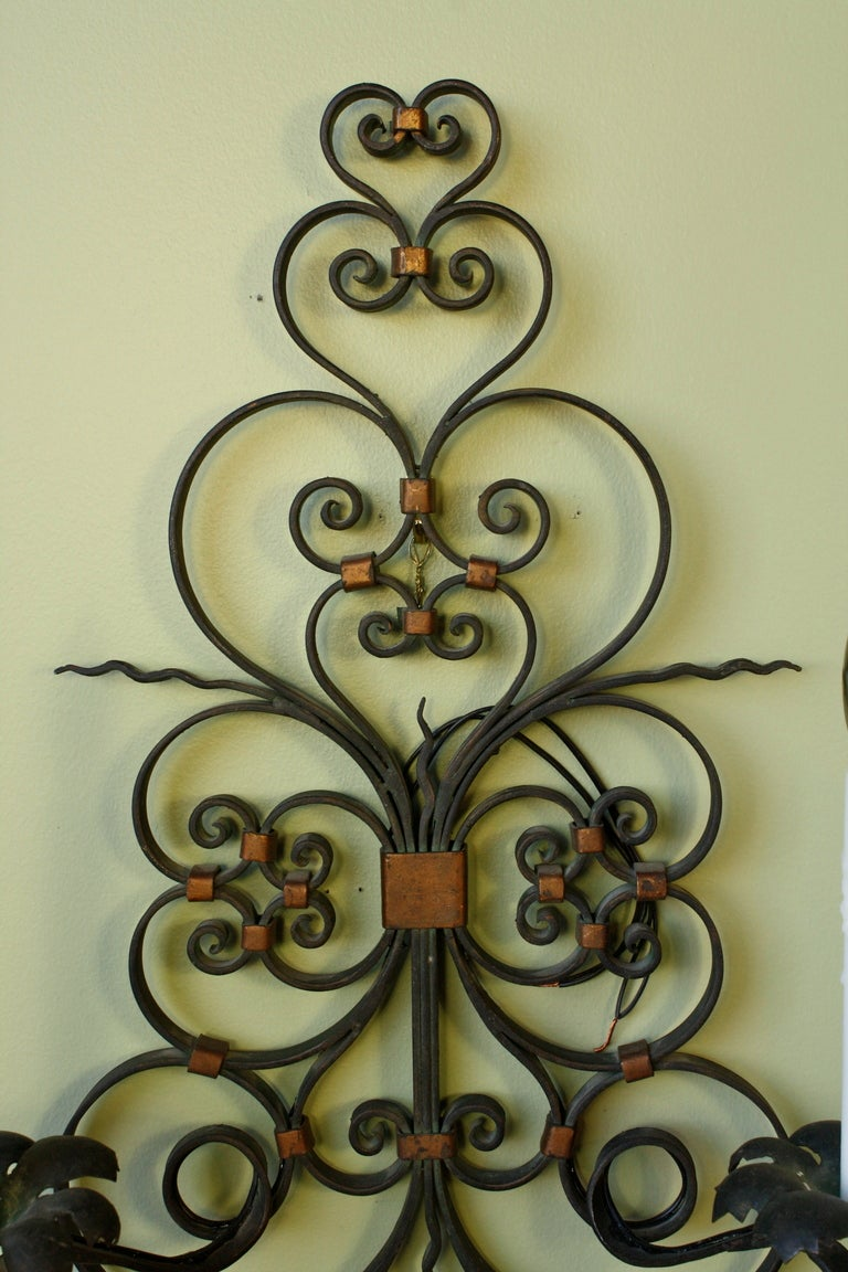 Pair of French Country Wrought Iron Sconces For Sale 1