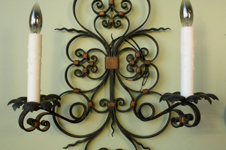 Pair of French Country Wrought Iron Sconces For Sale 2