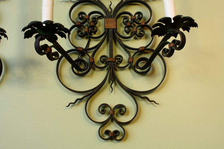 Pair of French Country Wrought Iron Sconces For Sale 3